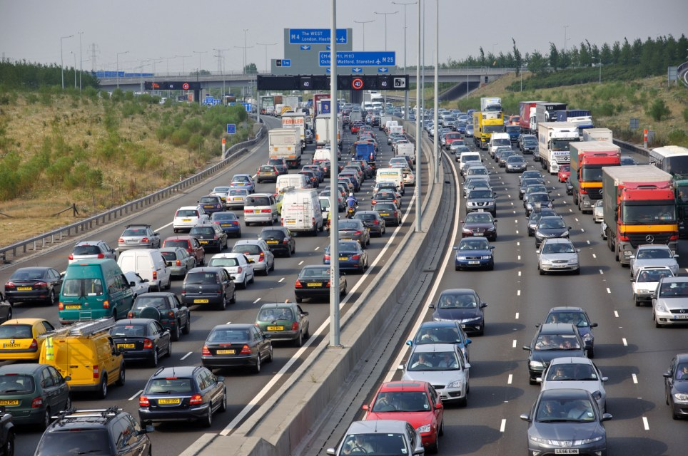 congested m25 motorway at junction 14 greater london. Black Bedroom Furniture Sets. Home Design Ideas