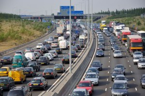 Congested M25 Motorway at Junction 14, Greater London, England, United Kingdom. Image shot 2009. Exact date unknown.