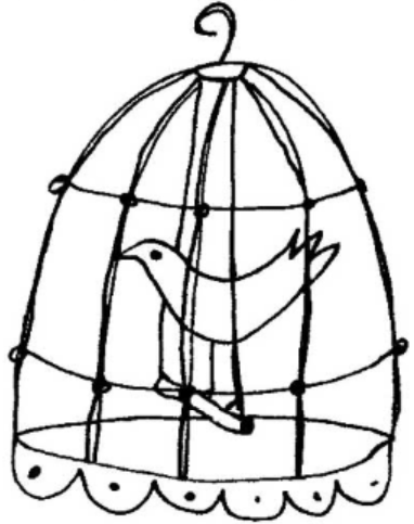 a little bird in a little cage